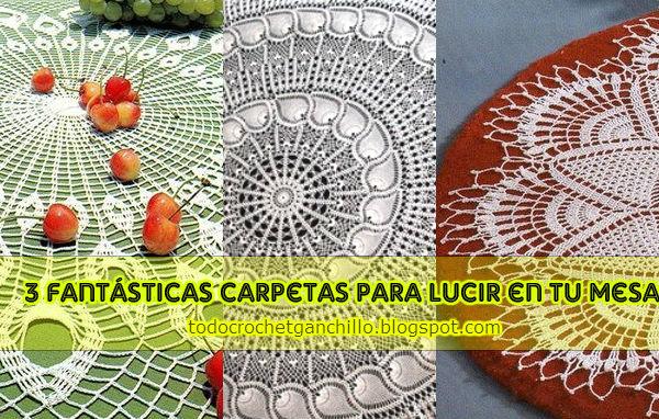 Carpetas tejidas al crochet en forma circular con esquemas