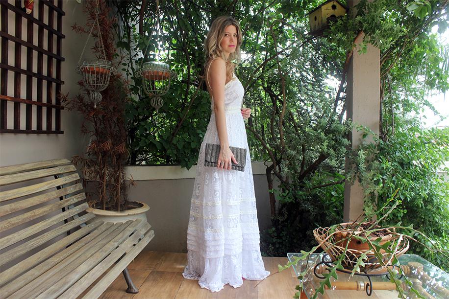 Vestido longo branco iorane