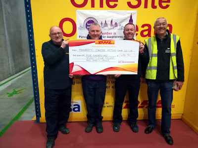 A cheque presentation for £474.90p was made to Andrew Markham of Brigg (second left on the picture) - a Regional Rep for Pancreatic Cancer Action, by Nisa/DHL Scunthorpe. - picture used on Nigel Fisher's Brigg Blog, December 2018