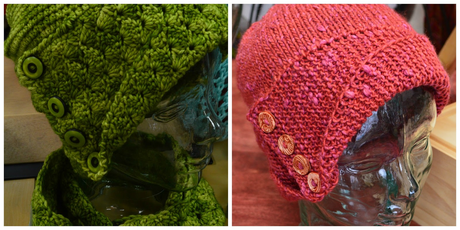 L-R Maid Marian hat and scarf (crochet) and Robin Hood hat (knit) ... 1a354108c54