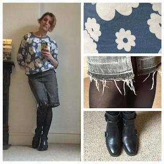 Warehouse denim skirt and Boden sweatshirt