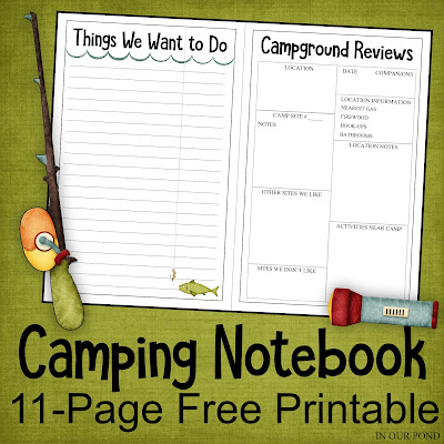 Camping Notebook // Party Through the USA // organize your camping trips // free printable // planner // notebook