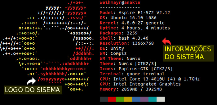 inforacoes do sistema operacional usando o terminal de comando