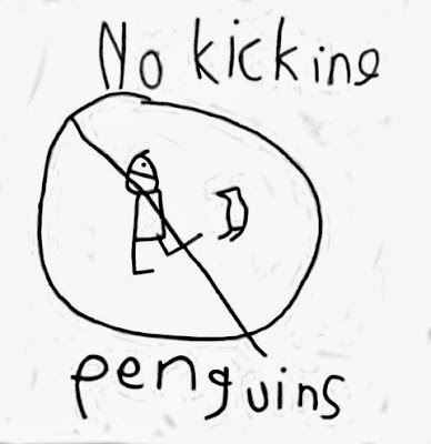 No kicking penguins drawing by Seven-year-old Colby. Stick figure with extended leg and penguin in a circle slash. No Kicking Penguins and other stories about penguins. marchmatron.com