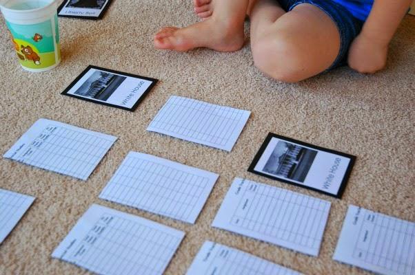 american landmarks memory game for preschool
