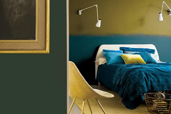 quarto de casal, parede colorida, listra na parede, tintas coral, colour futurescor
