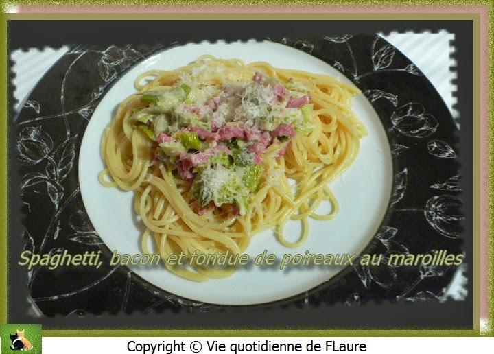 Vie quotidienne de FLaure: Spaghetti, bacon et fondue de poireaux au maroilles