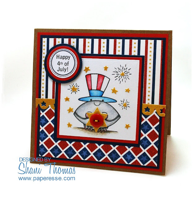 4th of July card with 2 Cute Ink 4th of July Crab digital stamp, by Paperesse.