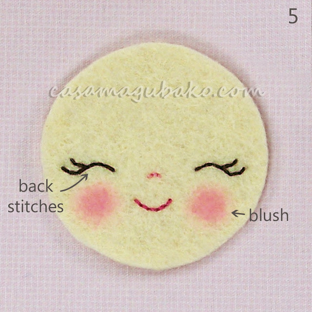 Felt Flower Tutorial - Embroidering Face by casamagubako.com