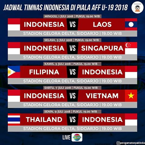 Jadwal Timnas Indonesia U-19 di Piala AFF U-19 2018