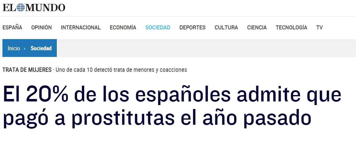 el % de los españoles admite que pagó a prostitutas el año pasado libros de prostitutas