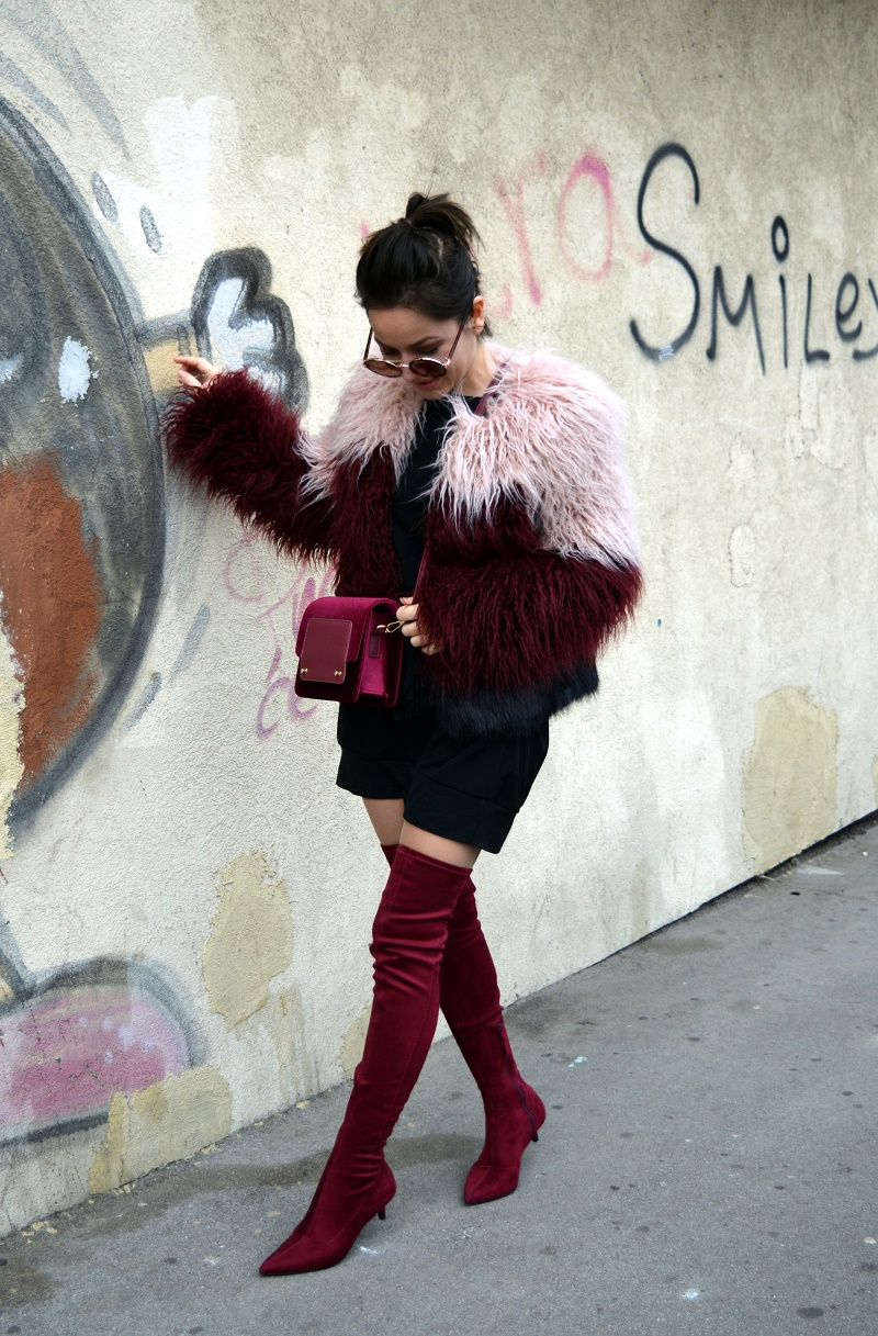 Faux fur jacket and thigh high boots