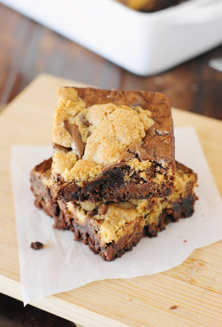 Chocolate Chip Cookie Dough Brownies ~ Bring together the best of two worlds!  Two favorites so good together, you and your family won't be able to resist.   www.thekitchenismyplayground.com