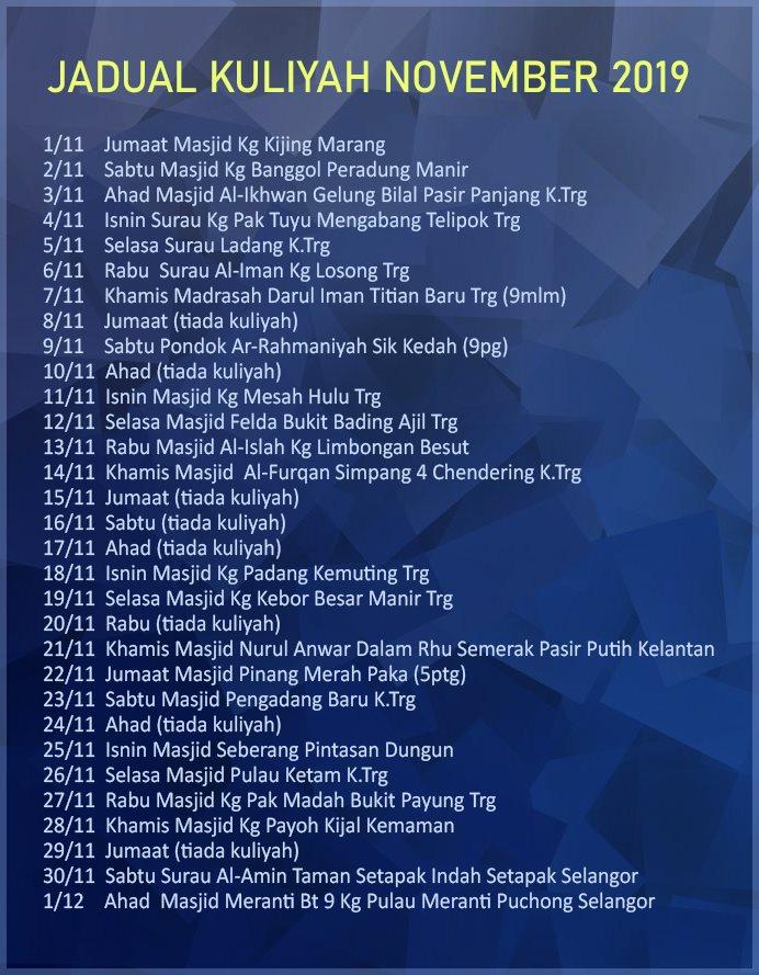 jadual kuliah ustaz azhar idrus November December 2019