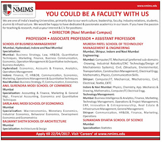 narsee monjee institute of management studies wanted