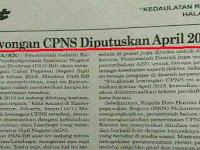 Resmi!! Lowongan CPNS Diputuskan April 2018. Dengan Kuota Sebagai Berikut