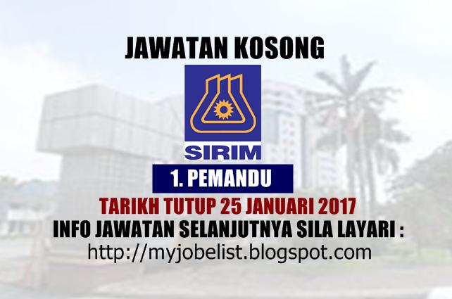 Jawatan Kosong Terkini di SIRIM Berhad Januari 2017