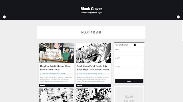 Black Clover Responsive Blogger Template