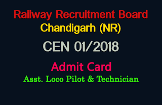 rrb chandigarh alp admit card 2018 - rrbcdg.gov.in loco pilot hall ticket