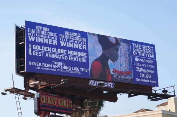 SpiderMan Into Spider-Verse Golden Globe FYC billboard