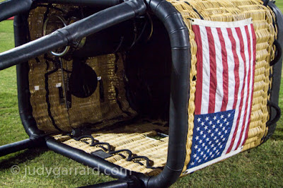 Flag on balloon basket
