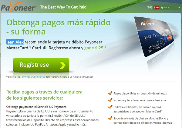 Tarjeta Payoneer Mastercard paypal
