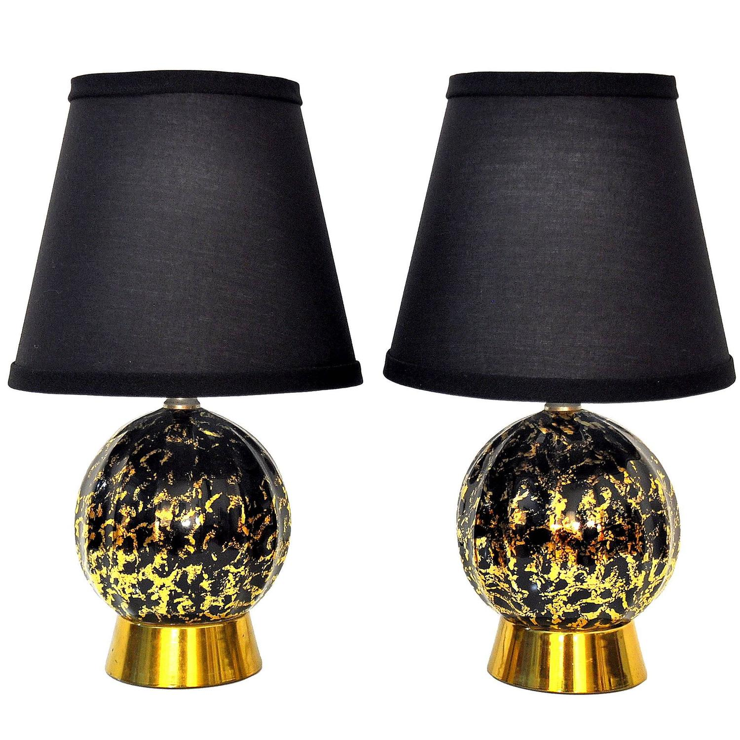 select modern pair of hollywood regency black and gold ceramic brass table lamps. Black Bedroom Furniture Sets. Home Design Ideas