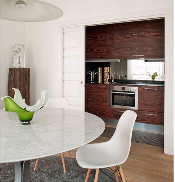 contemporary hidden kitchen ideas in dining room