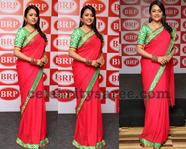 Suma in Red Plain Saree