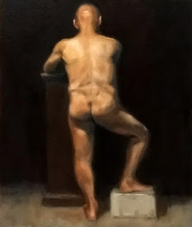 Oil painting of a standing male nude with one foot on a box and back to the viewer.