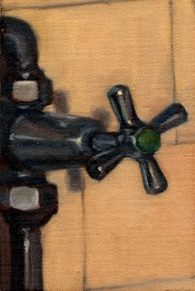 Oil painting of a cold tap attached to exposed water pipes, as part of a shower unit circa 1940.