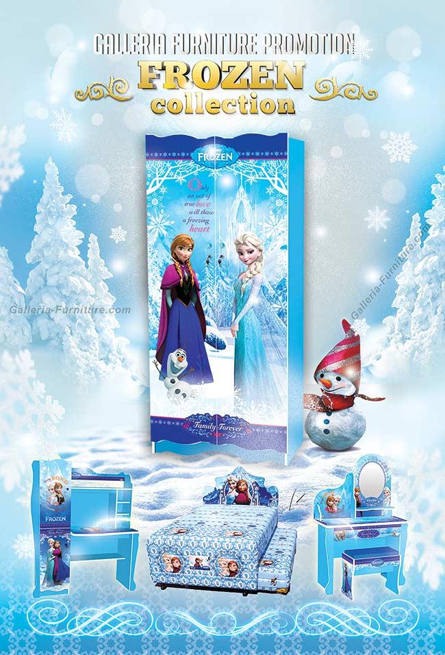Lemari Baju Meja Belajar Kartun Disney Frozen - Furniture Mebel Anak