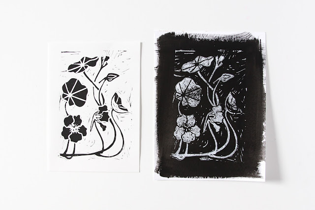 nasturtiums, block prints, lino cuts, nasturtium block prints, Anne Butera, My Giant Strawberry