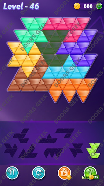 Block! Triangle Puzzle 8 Mania Level 46 Solution, Cheats, Walkthrough for Android, iPhone, iPad and iPod