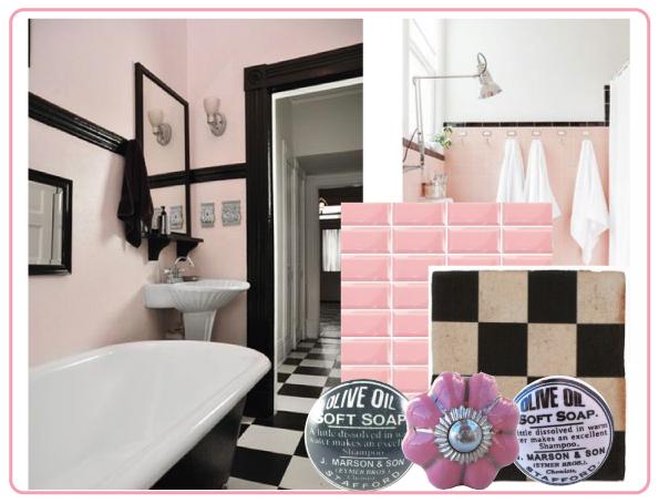 du rose dans la salle de bain