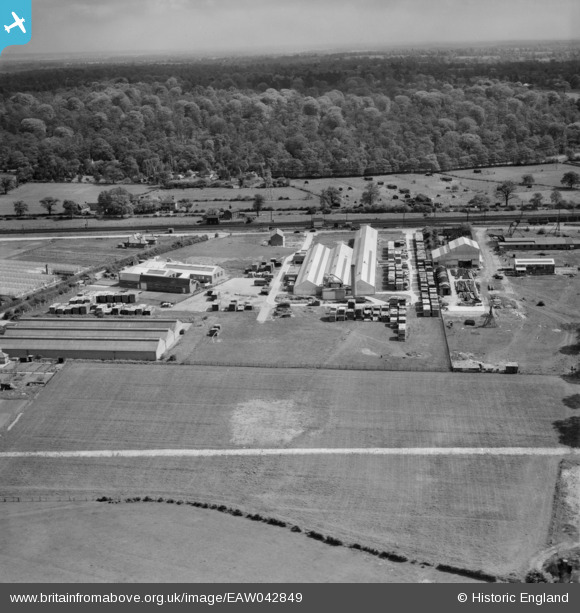 Photograph of The Dottridge Brothers Ltd Coffin Factory at Marshmoor, Welham Green, from the south-west, 1952 This image was marked by Aerofilms Ltd for photo editing Original Britain From Above caption