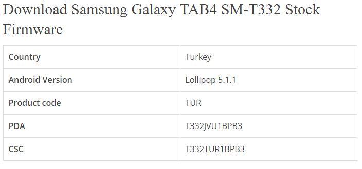 ROM SAMSUNG: Samsung Galaxy TAB4 SM-T332
