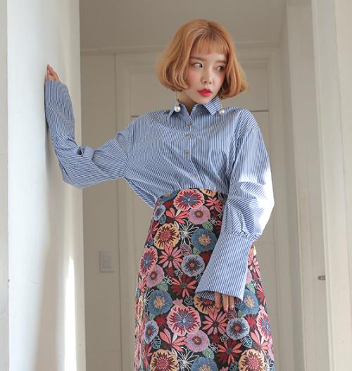 Floral Ruffled Hem Midi Dress