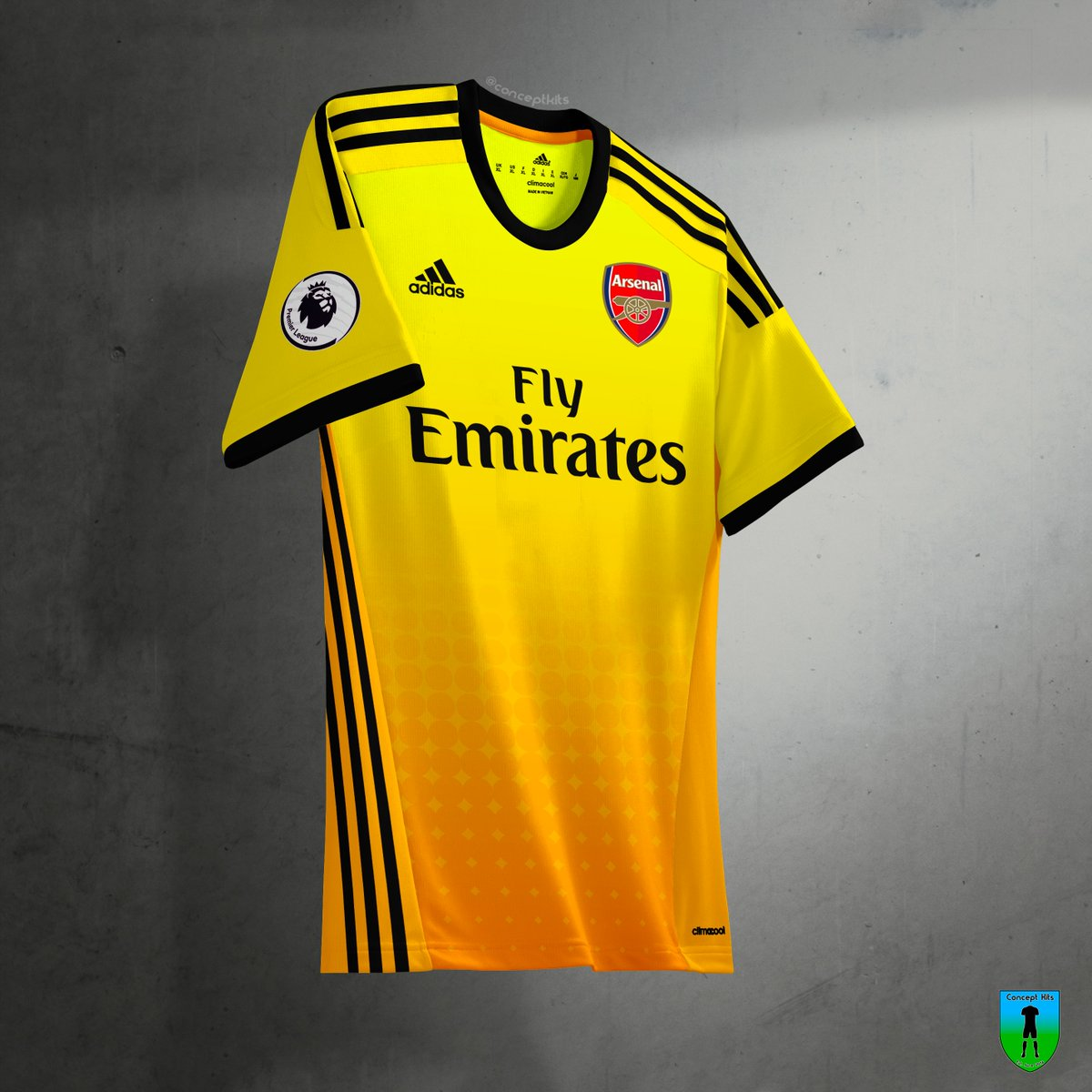 This  leaked  Adidas Arsenal 2019-20 away kit has a yellow   orange color  gradient and navy applications. It is NOT the real kit but taken from a  concept of ... e1073059c