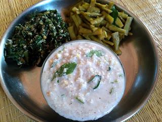 Little millet Coconut Curd rice, Amaranth greens poriyal, Cluster beans poriyal