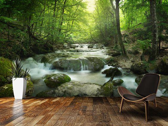 cool tapet skog fototapet vattenfall häftig tapet