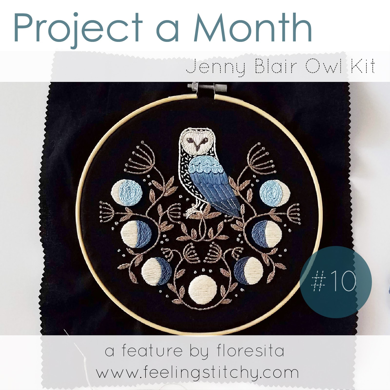 Project a Month October Jenny Blair Owl Embroidery Kit as Featured by floresita on Feeling Stitchy