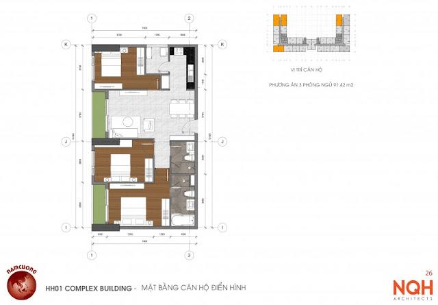 Mặt bằng căn hộ 91m - Anland Nam Cường
