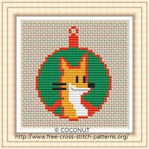 Free Printable Christmas Ornament Cross Stitch Patterns.Fox Mini Christmas Ornament Free And Easy Printable Cross