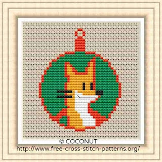 Small Christmas ornament of a fox, Free and easy printable cross stitch pattern