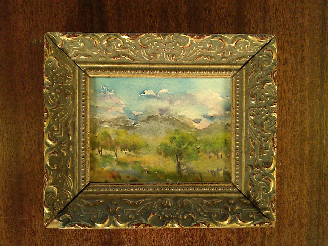 Index card #7, watercolor on watercolor paper, quick watercolor sketch, gold frame Christy Sheeler artist