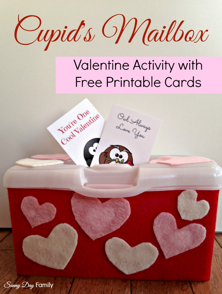 Cupid\u0027s Mailbox Activity with Free Printable Valentine Cards