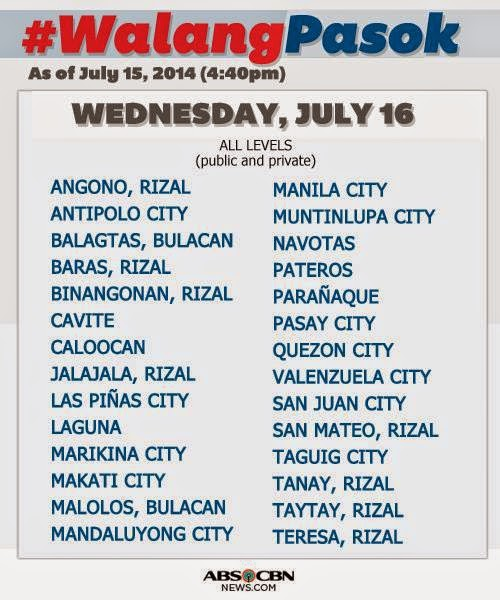 July 2014 Typhoon Glenda #WalangPasok