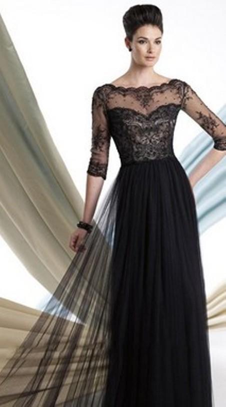 Scoop Neck Black 3/4 Sleeve Tulle Beading Floor-length Evening Dresses-Price: $158.89 (55.0% OFF)