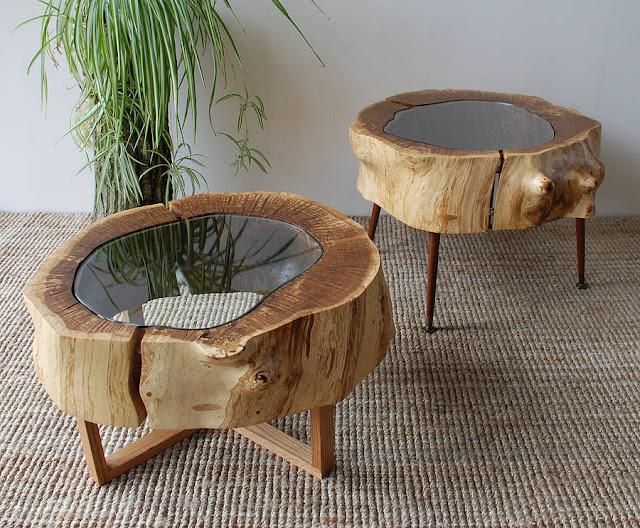 Уникальные столики из дубового спила от DZdesign